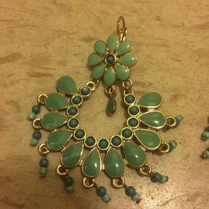Jewelry - Teal Flower Dangle Earrings